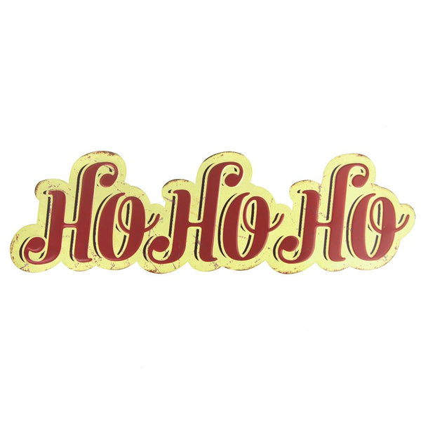 "Vintage Style Hanging Metal ""Ho Ho Ho"" Christmas Sign, Red/Yellow, 25-1/4-Inch x 7-1/4-Inch"