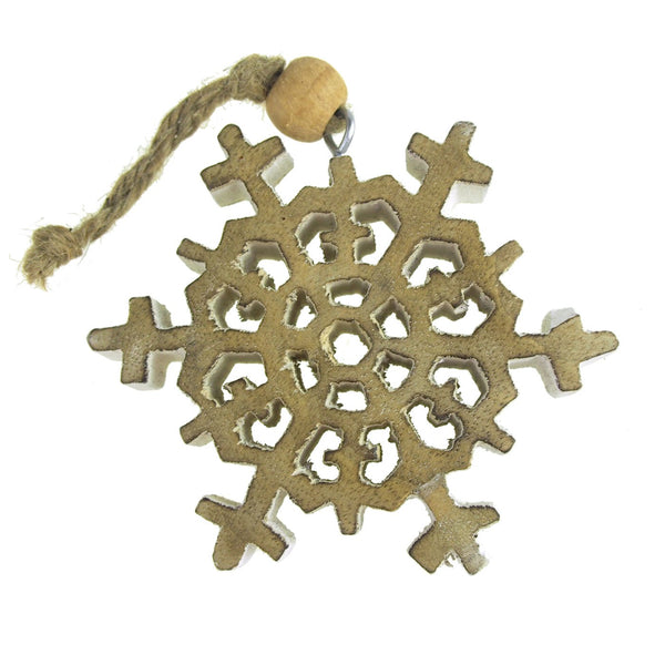 Wooden Stellar Dendrite Snowflake Christmas Tree Ornament, White Wash, 4-Inch