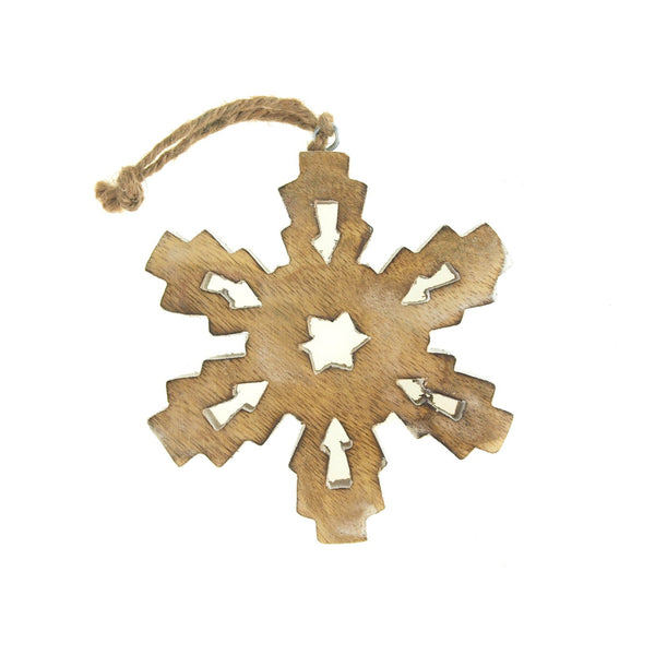 12 Pack, Hanging Wood Hexagonal Snowflake Christmas Tree Ornament, White Wash, 5-Inch
