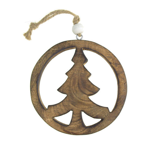 12-Pack, Hanging Wooden Peace Tree Christmas Tree Ornament, Natural, 5-Inch