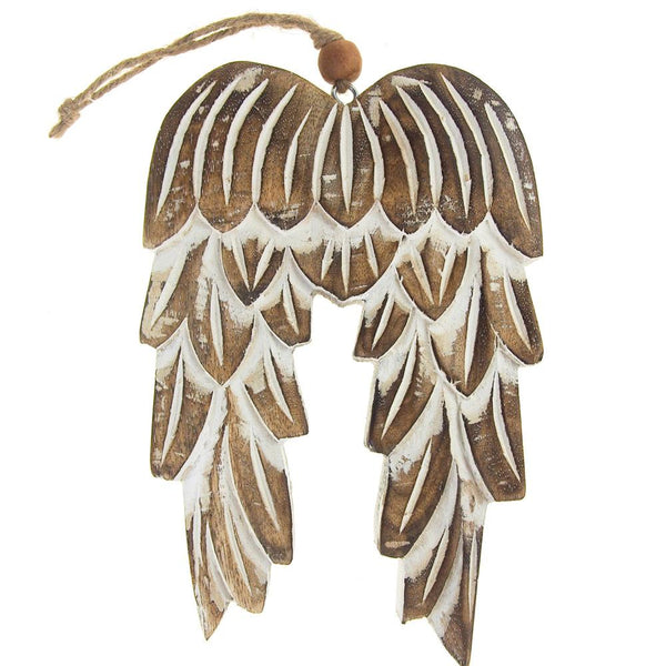 Wooden Angel Wing Christmas Ornament, Natural, 8-Inch
