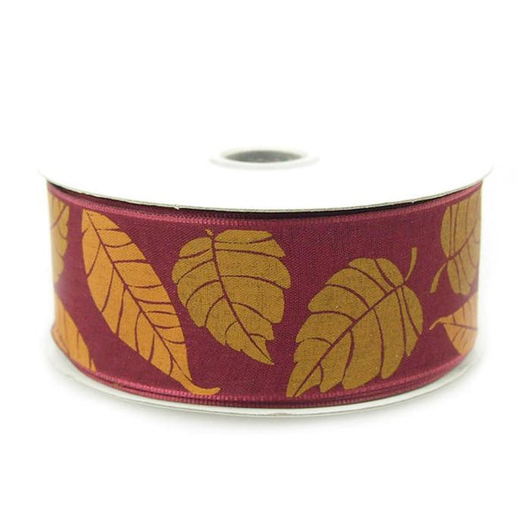 12-Pack, Leaves Poly Ribbon Wired Edge, 1-1/2-inch, 10-yard, Wine