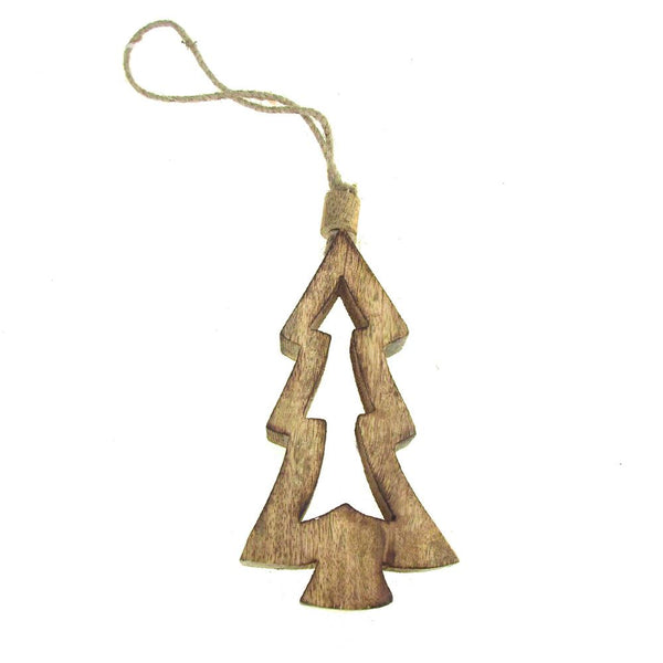 12 Pack, Hanging Wood Christmas Tree Cut Out Ornament, Natural, 6-Inch