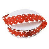 12-Pack, Polka Dot Snow Ball Edge Polyester Ribbon, Red, 7/8-Inch, 10 Yards