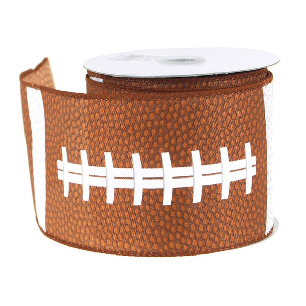 12-Pack, Football Polyster Ribbon Wired Edge, 2-1/2-Inch, 10 Yards