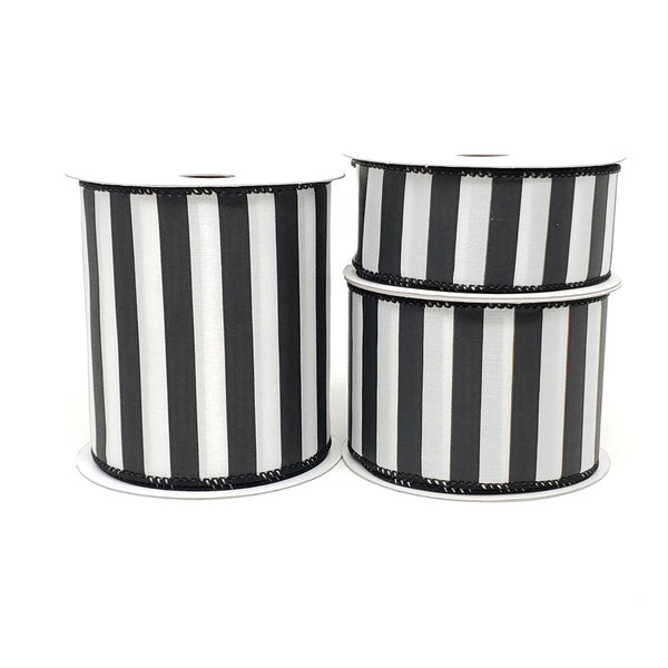 12 Pack, Christmas Stripes Satin Wired Edge Ribbon, Black/White, 10-Yard