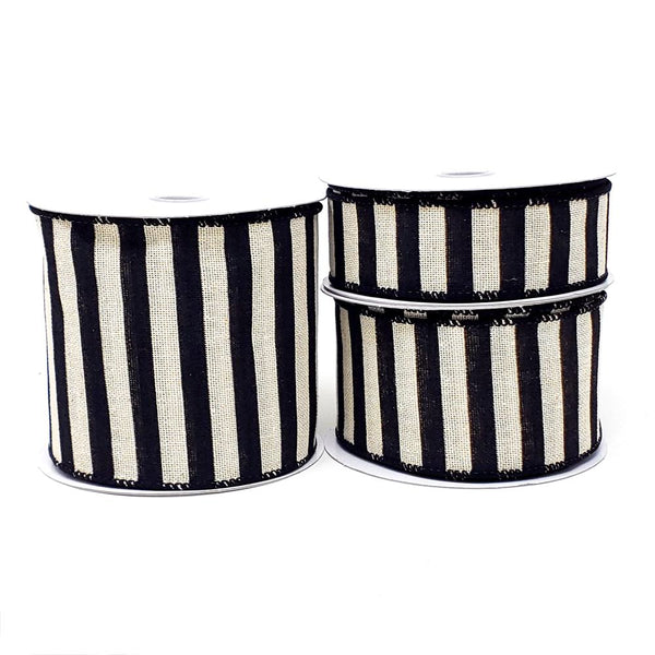 12 Pack, Christmas Stripes Canvas Wired Edge Ribbon, Black/Ivory, 10-Yard