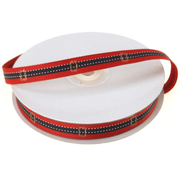 Santa Belt Grosgrain Holiday Christmas Ribbon, Red, 3/8-Inch, 25 Yards