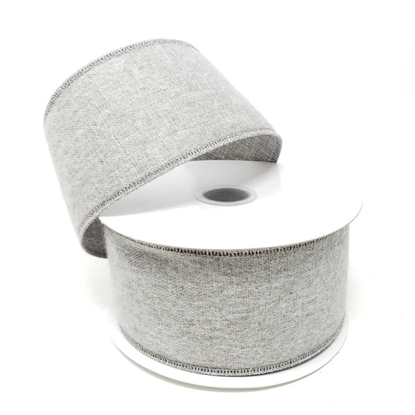 Christmas Soft Brushed Linen Wired Ribbon, 2-1/2-Inch, 10-Yard, Grey