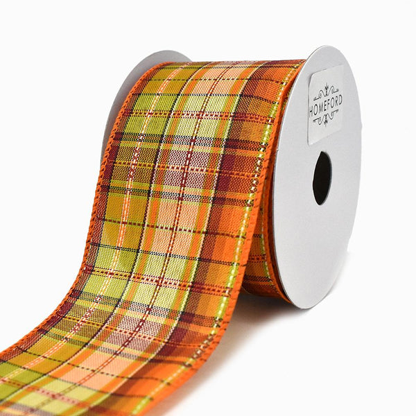 12-Pack, Orange/Green Fall Plaid Pattern Wired Ribbon, 2-1/2-Inch, 10-Yard