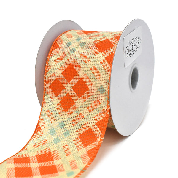 12-Pack, Orange/Teal Fall Plaid Pattern Wired Ribbon, 2-1/2-Inch, 10-Yard
