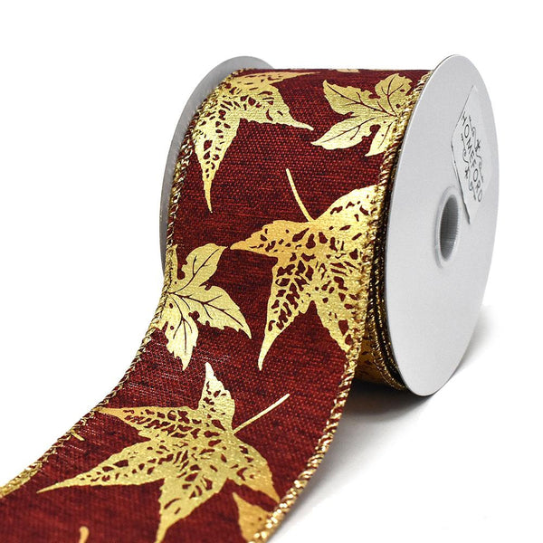 12-Pack, Gold Accent Fall Leaves Wired Ribbon, 2-1/2-Inch, 10-Yard