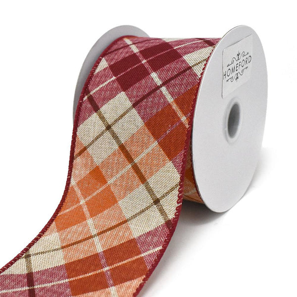 12-Pack, Diagonal Plaid Pattern Wired Ribbon, Red/Orange,  2-1/2-Inch, 10-Yard