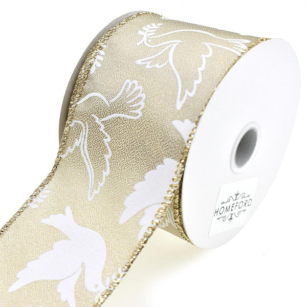 12-Pack, Platinum Satin White Doves Wired Ribbon, 2-1/2-Inch, 10-Yard