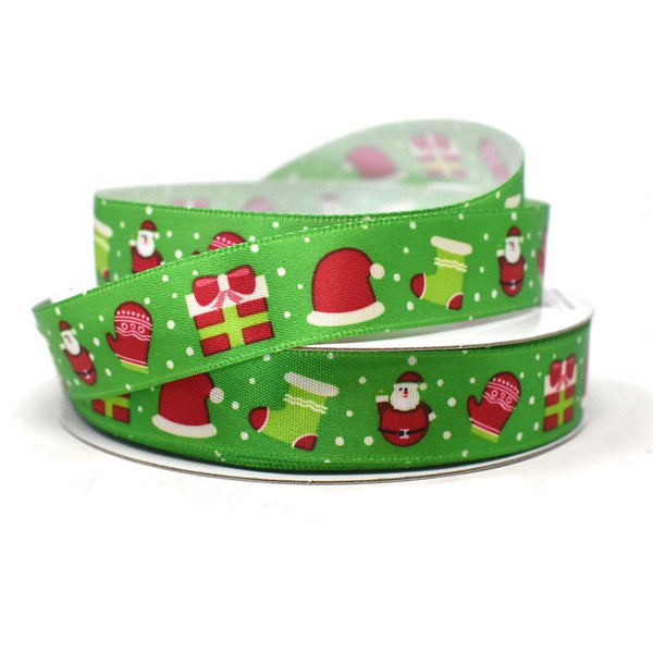 12-Pack, Santa and Presents Christmas Ribbon, 5/8-Inch, 25-Yard