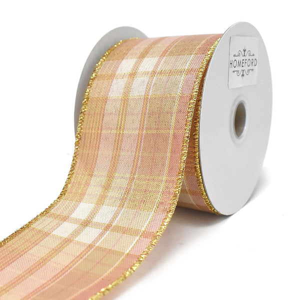 12-Pack, Plaid Pattern Wired Ribbon, Rose Gold, 2-1/2-Inch, 10-Yard
