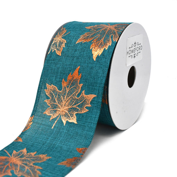 12-Pack, Copper Accent Fall Leaves Wired Ribbon, Green, 2-1/2-Inch, 10-Yard