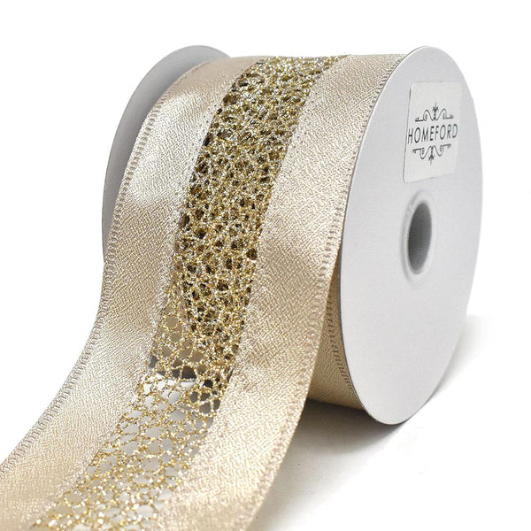 Elegant Satin Ribbon with Glitter Web Center Wired Ribbon, Champagne, 2-1/2-Inch, 10-Yard