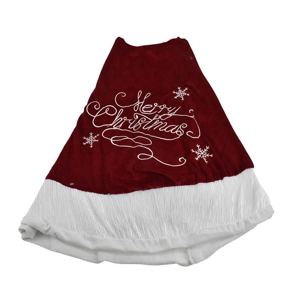 Embroidered 'Merry Christmas' Velvet Tree Skirt, 48-Inch