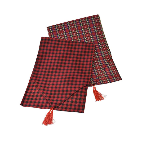 12-Pack, Christmas Buffalo Plaid Table Runners, 71-Inch, 2-Piece