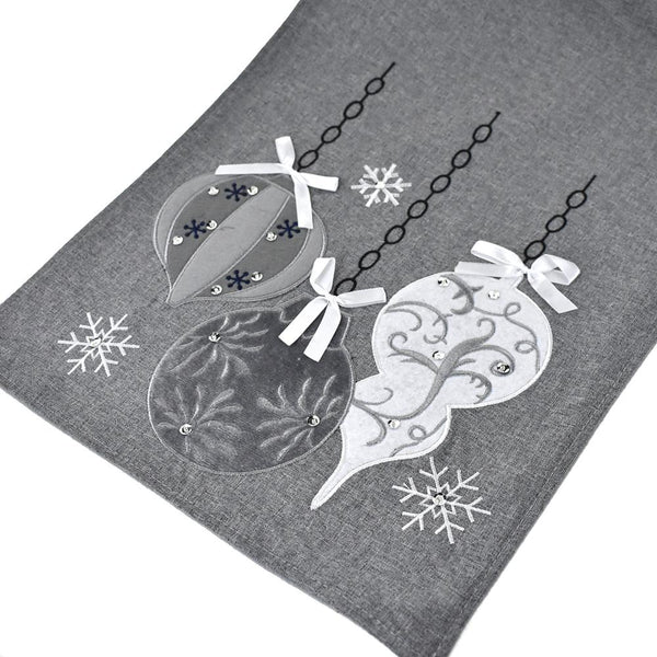 Embroidered Ornaments Christmas Table Runner, Grey, 14-Inch x 90-Inch