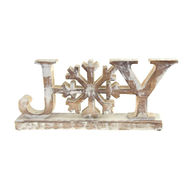 Wooden Joy Snowflake Christmas Distressed Stand, Natural/White, 13-Inch