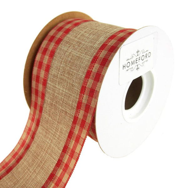 Gingham Edge Wired Faux Linen Ribbon, 2-1/2-Inch, 10 Yards