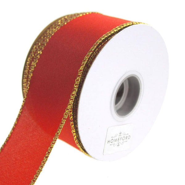 Metallic Edge Wired Christmas Holiday Ribbon, Red, 1-1/2-Inch, 10 Yards