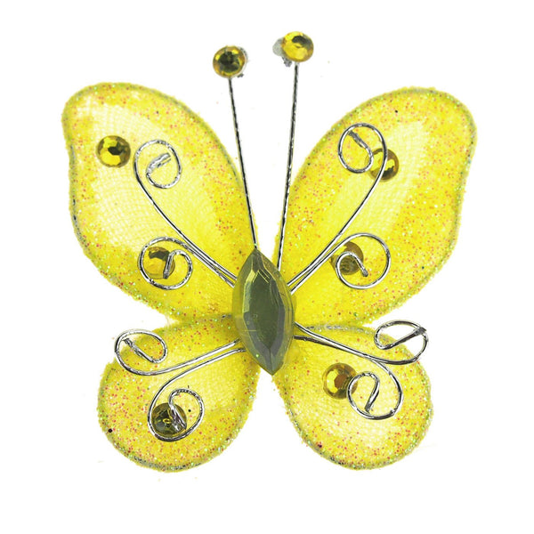 Organza Nylon Glitter Butterflies, 3-inch, 12-Piece, Yellow