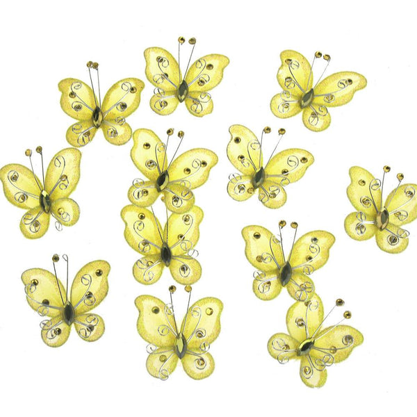 Organza Nylon Glitter Butterflies, 2-inch, 12-Piece, Yellow