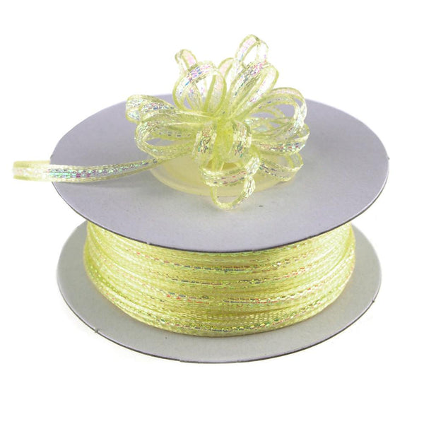 Iridescent Pull Bow Christmas Ribbon, 1/8-Inch, 50 Yards, Baby Maize Yellow