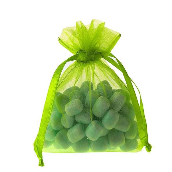 Organza Favor Pouch Bag, 4-Inch x 5-Inch, 12-Count, Apple Green