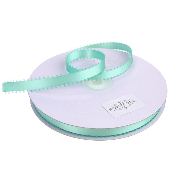 Picot-edge Double Face Satin Ribbon, Aqua, 3/8-Inch, 50 Yards