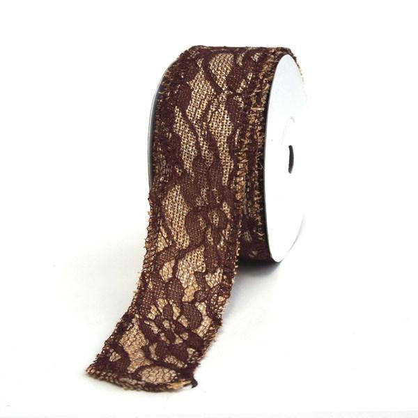 12-Pack, Faux Burlap Ribbon Lace Overlay, 1-1/2-inch, 10-yard, Brown