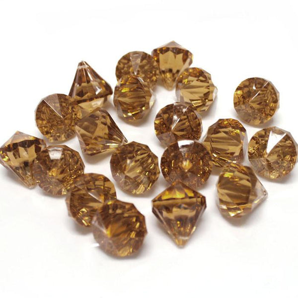 Acrylic Crystal Hanging Decor, 1-Inch, 100-Piece, Brown