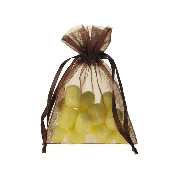 Organza Favor Pouch Bag, 3-Inch x 4-Inch, 12-Count, Brown