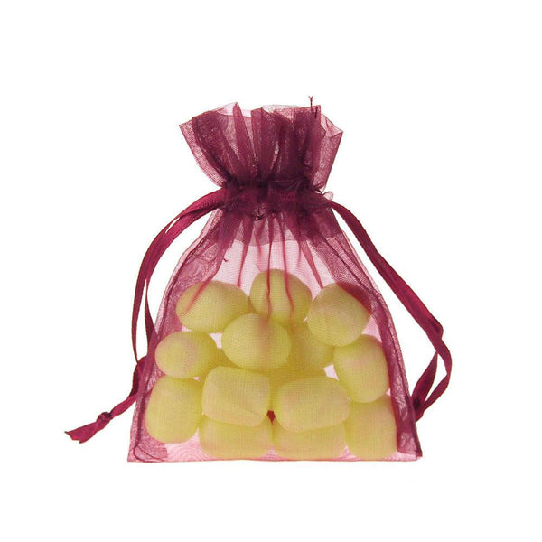 Organza Favor Pouch Bag, 3-Inch x 4-Inch, 12-Count, Burgundy