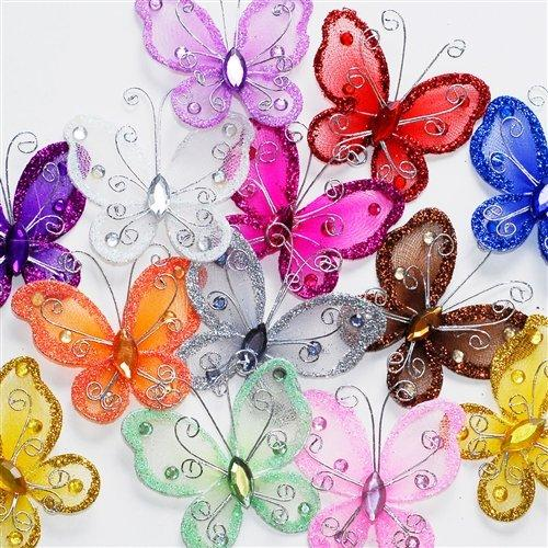 Nylon Organza Butterflies, Assorted, 2-Inch, 24-Pack