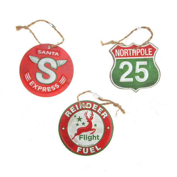 12 Pack, Vintage Style Hanging Metal Road Signs Christmas Tree Ornament, Red/Green, 3-1/4-Inch, 3-Piece