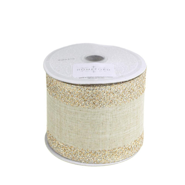 Glitter-Edge Criss-Cross Canvas Ribbon, Toffee, 2-1/2-inch, 10 Yards