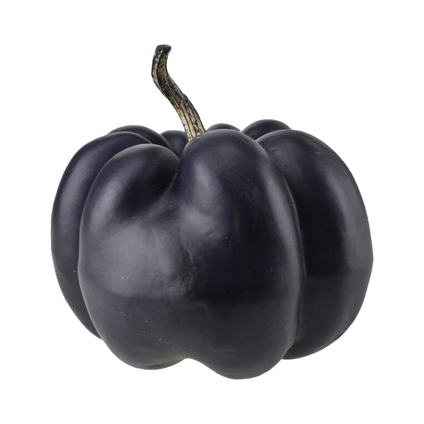 Artificial Pumpkin Decoration, Black, 7-1/2-Inch