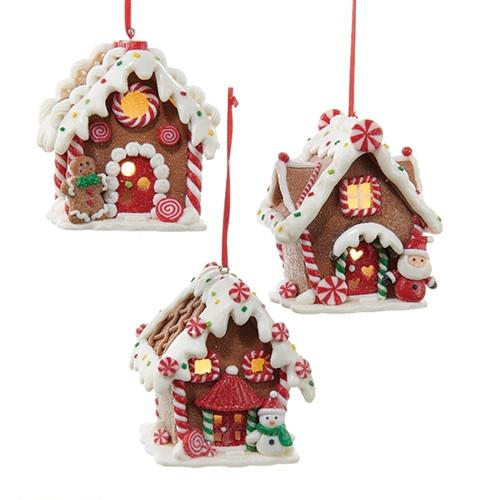 12-Pack, Set of 3 Gingerbread LED House Ornaments, Brown, 3-1/2-Inch