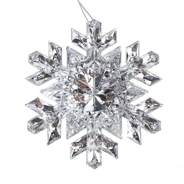 Hanging Acrylic Crystal Faceted Snowflake Christmas Tree Ornaments, Clear/Silver, 5-Inch