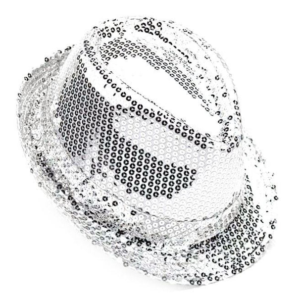 Party Top Hat with Sequins, 11-inch, Silver