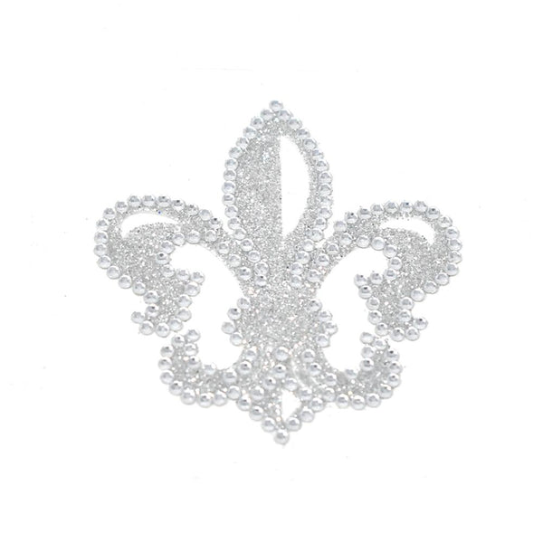 12 Pack, Fleur-De-Lis Diamond Sticker, 2-1/4-Inch, Silver