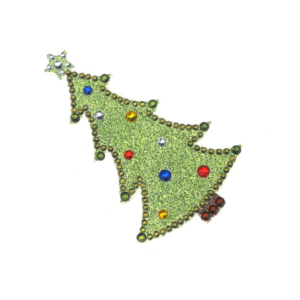 12 Pack, Christmas Tree Diamond Sticker with Glitter, Green, 3-Inch