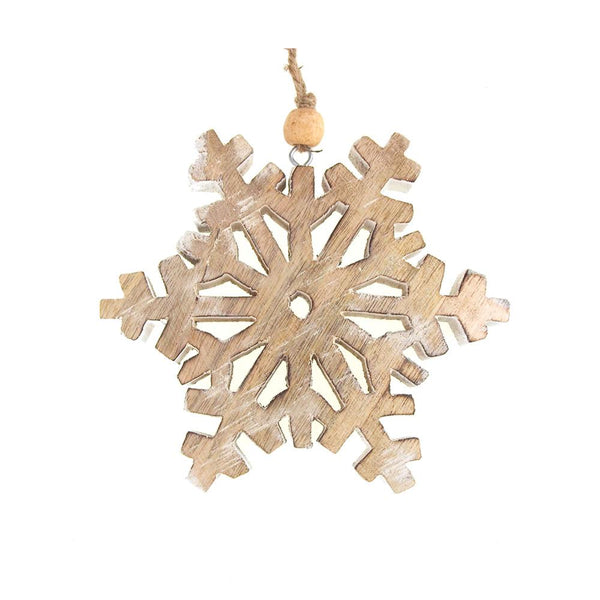 Dendrite Snowflake Wooden Christmas Ornament, Natural/White, 5-Inch