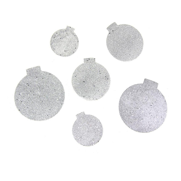 12 Pack, Christmas Styrofoam Round Ornament Cut Out Silver Glitter, 6 Count