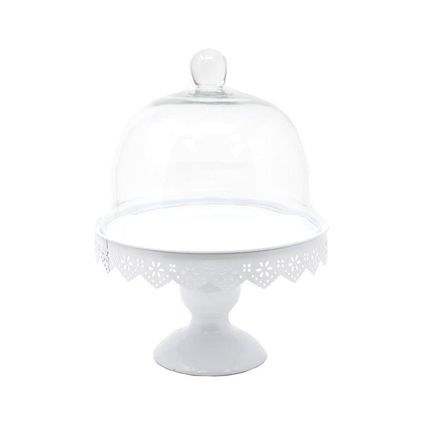 Metal Cake Stand with Glass Dome Top, White, 11-Inch