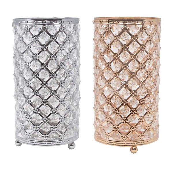 12 Pack, Metal Crystal Candle Holder with Hanging Beads, 9-1/2-Inch